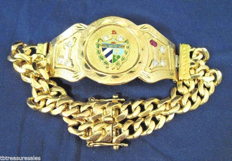 Estate Cuban Crest Link Bracelet Diamond Ruby Vintage Solid 18k 94g