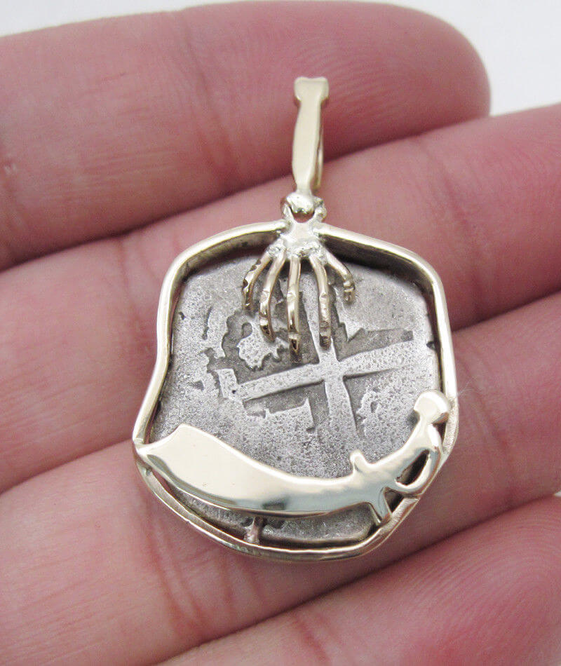 14k yellow gold pirate hand sword nautical pendant with shipwreck 14k yellow gold pirate hand sword nautical pendant with shipwreck silver coin aloadofball Image collections